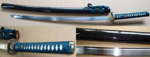 Blue Hand Forged 1050 Carbon Steel Katana Sword with Hamon pictures & photos