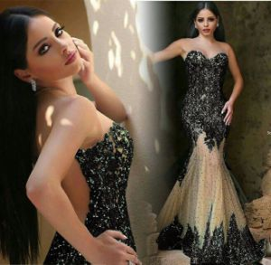 Abendkleider Black Evening Dress Beaded Mermaid Prom Dresses E1789 pictures & photos