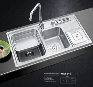 Stainless Steel Sink with Trashbin and Knife Shelf Wa8845 0.8mm Thickness