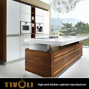 Wood Veneer Mixing White Painting High Gloss Finishing Kitchen Cabinets Tivo-0007V pictures & photos