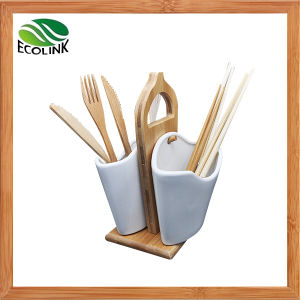 Ceramic Utensil Chopstick Holder with Bamboo Stand pictures & photos