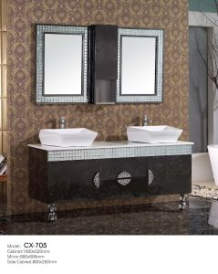 Floor-Mounted Modern Stainless Steel Bathroom Cabinet with Diamond Basin pictures & photos