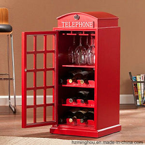 Creative Telephone Booth Shape Wood Cabinet for Wine Display pictures & photos
