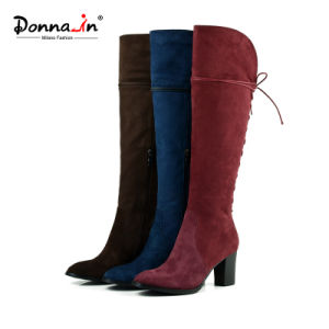 Casual Lady Leather Shoes High Heels Lace-up Women Boots Shoes pictures & photos