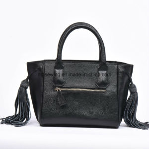 Elegant Women Handbag PU Tote Bag with Tassels on Both Sides pictures & photos