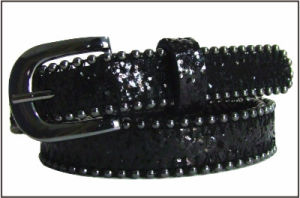 Fashion Black Glitter PU Lady′s Belt pictures & photos