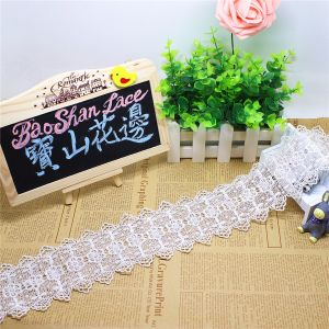 Factory Stock Wholesale 8cm Width Embroidery Nylon White Lace Polyester Embroidery Trimming Fancy Chemical Lace for Garments Accessory & Home Textile & Curtains pictures & photos