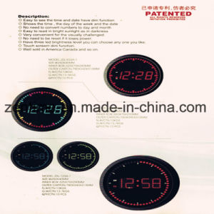 Circle LED Digital Wall Clock Easy to See The Time and Date with Dim Function pictures & photos