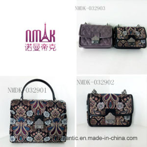 Fashion Stylish Lady PU Canvas Leather Embroidered Handbags (NMDK-032901) pictures & photos