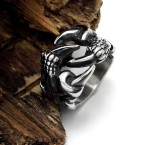 Vintage Silver Dragon Paw Male Ring Gothic Punk Stainless Steel pictures & photos