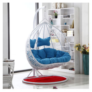 Modern Leisure Home Hotel Office Metal Wicker Round Rattan 2seats Hanging Chair (J827) pictures & photos