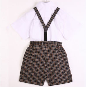 Summer 100%Cotton White-Cotton Shirt and Pants Kids School Uniform pictures & photos