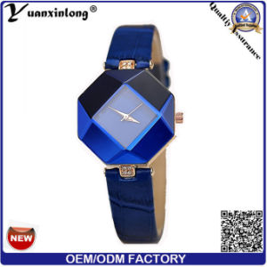 Yxl-156 2016 New Design Stainless Steel Jewelry Ladies Bracelet Wrist Watch Geometry Blue Leather Wristband Dress Watches Lady Watch pictures & photos