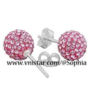 Sterling Silver Pink Crystal Earrings Vs078-20 (8mm)