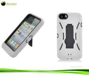 2 in 1 Hybrid Hard Shell Mobile Phone Case with Kickstand for iPhone 5 -White+Black