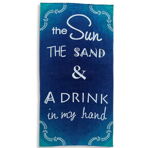 Leter Printed Cotton Blue Beach Towel Cutomized Beach Towels pictures & photos