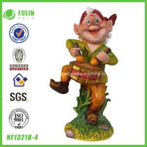 Garden Furniture Drum Playing Resin Dwarf Figurine (NF13218-4)