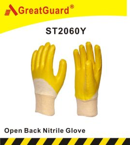 Cotton Interlock Nitrile Coated Glove (ST2060Y) pictures & photos