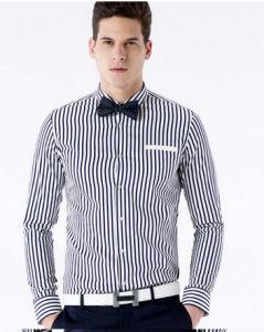 Men′s Navy Strip Slim Fit Cotton Shirt pictures & photos
