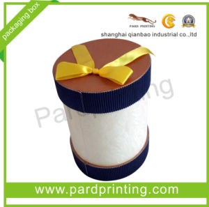Round Corrugated Paper Gift Box with Ribbon (QBG-1444)