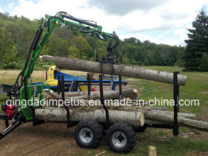 CE Certificate Honda Engine Timber Trailer with Crane pictures & photos
