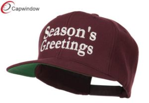 Maroon Seasons Greetings Embroidered Snapback Cap (01073) pictures & photos