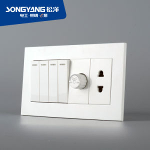 Electric Switch White Series 4gang+Dimmer+1socket Wall Switch