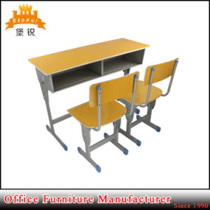 Metal Frame MDF Top Double Desk and Chair Furniture School Students Study Chairs and Tables pictures & photos