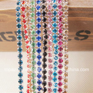 Various Colors Silver Back Crystal Glass Rhinestone Closed Chain Trims Applique pictures & photos