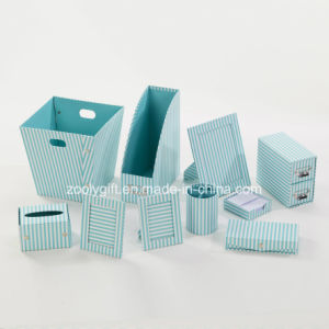 Stripe Printed Paper Cardboard Desktop Organizer Office Stationery Set pictures & photos