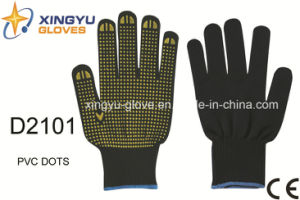 Polyester Shell PVC Dots Safety Work Glove (D2101) pictures & photos