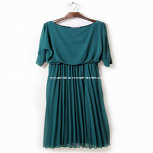 2013 Wrinkle Dark Green Short Sleeve Dress (XYD-197)