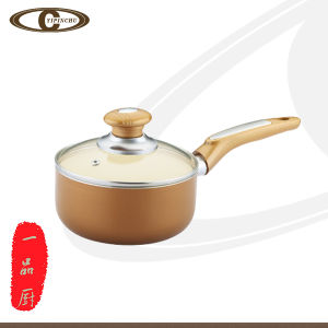 Gold Sauce Pan with Interior Coating White Creamic