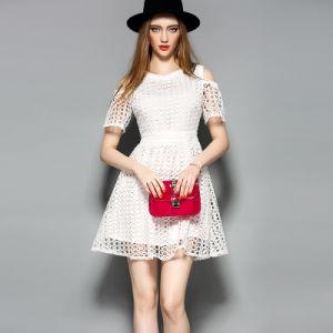 Hotsale Hollow off-Shoulder A-Line Women Dress with Elastic Waist pictures & photos