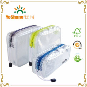 3 Pack Organizer Storage Packing Bags-Clear Water Resistant Solid Reinforced PVC Mesh Plastic with Zipper Closure pictures & photos
