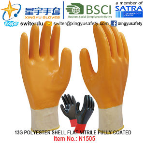 13G Polyester Shell Nitrile Fully Coated Gloves (N1505) Smooth Finish with CE, En388, En420, Work Gloves pictures & photos