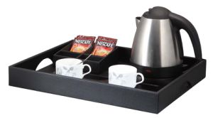 Hotel 1L Stainless Steel Electric Kettle with Leather Tray pictures & photos
