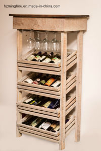 Rustic Antique Furniture Wood Cabinet with Glass Display Wine Storage pictures & photos