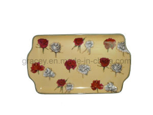 Hand Painting Rose Ceramics Products ,Rectangular Saucer (FY0770)