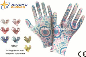 Polyester Shell Nitrile Coated Safety Work Gloves (N1521) pictures & photos