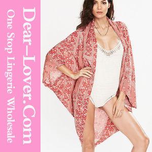 Red Printed Kimono Style Swimwear Beachwear pictures & photos