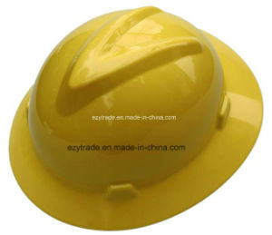 Safety Helmet Full Brim V Style with 4 Points Ratchet Harness Ce En397 pictures & photos