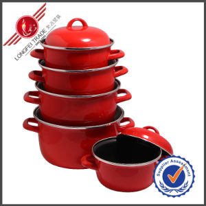 Classical Red Plain Cast Iron Enamel Cookware Set with Lid pictures & photos