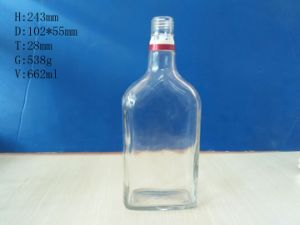 Square Glass Clear Bottles 660ml pictures & photos