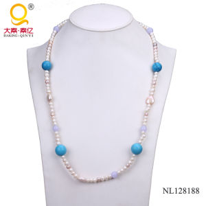 Potato Shape Pearl and Turquoise Bead Fashion Necklace for Woman pictures & photos