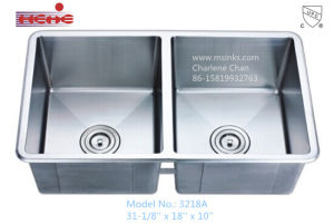 50/50 Small Rounded Corners Handmade Stainless Steel Kitchen Sink (3218) pictures & photos