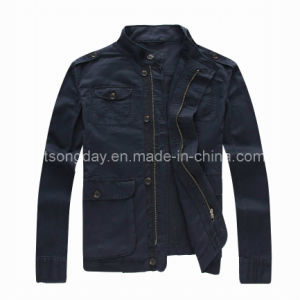 Outdoor Linen Cotton Men′s Casual Black Jacket (9094) pictures & photos