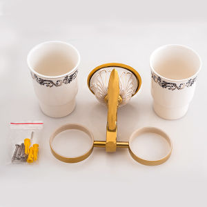 Hotel Bathroom Fittings Brass Golden Classic Double Tumbler Holder pictures & photos
