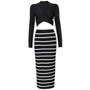 Long Sleeve Zebra Stripe Package Hip Medium Wedding Dress (2 pieces) pictures & photos