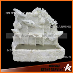Natura Green Marble Lotus Flower Leaf Carving Wall Fountain pictures & photos